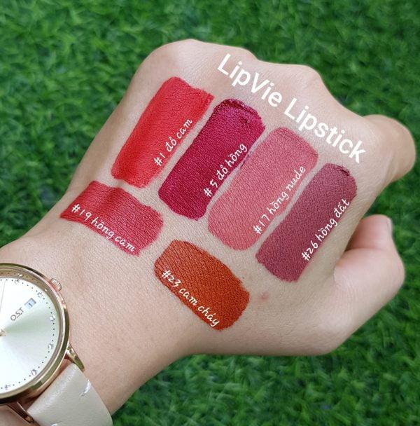 swatch lên tay son kem lì LipVie #1 đỏ cam Grace