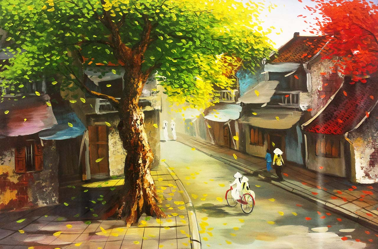 Ảnh đẹp tranh vẽ phố cổ Hà Nội